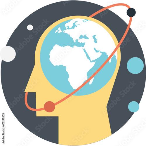 Fototapeta Glob in human head, elegant skill processing icon obraz