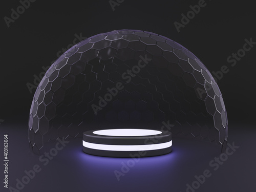 Canvas Print Mock-up transparent glass dome