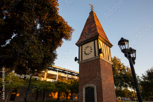 Fotografija Sunset view of the public clock tower in the Civic Center of Westminster, California, USA