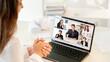 Leinwandbild Motiv Video call. Virtual meeting. Online teamwork. Pandemic WFH. Ambitious diverse multiracial team greeting new employee on laptop screen at light modern home office.