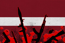 Latvia Flag And Various Weapons In Red Blood. Concept For Terror Attack Or Military Operations With Lethal Outcome