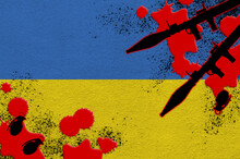 Ukraine Flag And Rocket Launchers With Grenades In Blood. Concept For Terror Attack And Military Operations