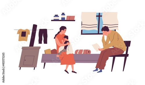 Obraz Poor family have no money to pay bills vector flat illustration. Miserable jobless father holding receipt worrying about payment isolated. Unemployment and financial problem, crisis or bankruptcy - fototapety do salonu