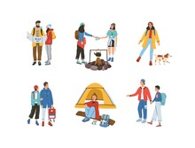 Collection Of Different Travelling People Vector Flat Illustration. Set Of Man And Woman Reading Map, Walking, Spending Time At Campsite Or Near Campfire Isolated. Tourists Enjoy Travel Or Adventure