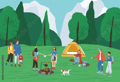 Obraz Group of active people spending time at camping in forest vector flat illustration. Backpackers and hikers relaxing near tent and campfire. Tourists enjoying outdoor recreation and summer landscape - fototapety do salonu