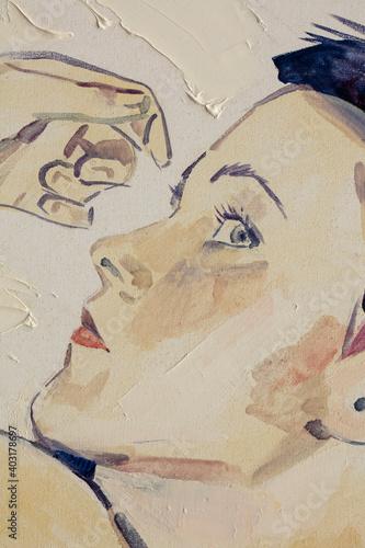 Fototapeta oil painting, female portrait, handmade obraz na płótnie
