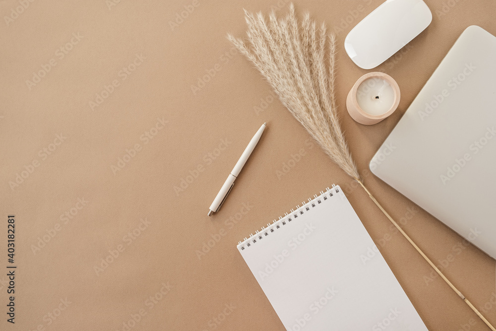 Fototapeta Flatlay of spiral flip notebook with blank paper sheet. Laptop, pampas grass, stationery on beige peachy pastel background table. Minimalist home office desk workspace. Top view mockup copy space.