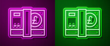 Glowing Neon Line Pound Sterling Money Icon Isolated On Purple And Green Background. Pound GBP Currency Symbol. Vector.
