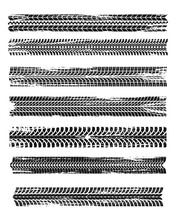 Tire Prints, Black Car Tyres Track, Isolated Grunge Vector Marks. Bike Race, Vehicle, Transportation Dirty Wheels Trace. Rubber Tires Prints, Automobile Or Bicycle Drag. Monochrome Graphic Pattern Set