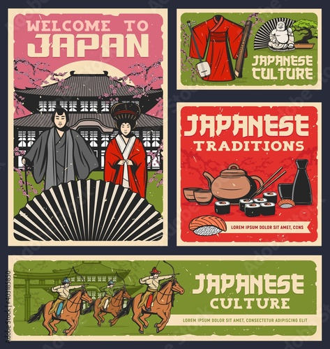 Valokuvatapetti Japanese food, culture and religion traditions vector design of sushi rolls, geisha and samurai with kimono and fan