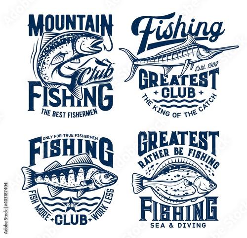 Fotografie, Obraz Fishing sport t-shirt prints set