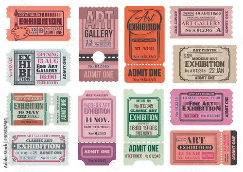 Art gallery and museum exhibition retro tickets, admits vector templates. City museum, art center and painting gallery entrance coupon, event access card, invite card or ticket with tear off part