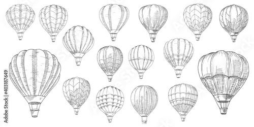 Foto Retro hot air balloons sketches