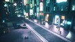 View of the night neon street with flying cars of the city of the future. Seamless looping animation for fiction, cyber and sci-fi backgrounds. View of an future city.