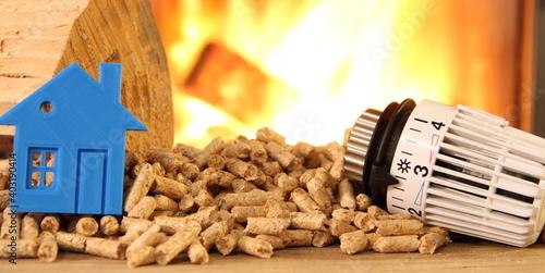 Obraz na plátně a wood stove with pellets, wood, toy house and a radiator thermostat
