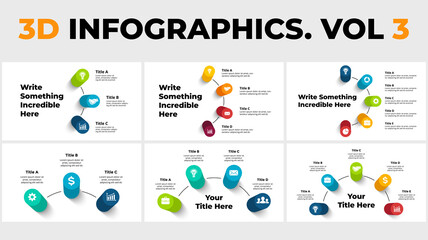 3D Vector Perspective Infographics Pack. Presentation slide templates with big title. Circle columns with shadows.