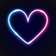 Neon Heart On Black Background
