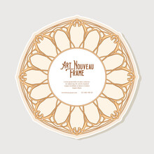 Cercle Label, Decorative Frame, Border In Art Nouveau Style, Vintage, Old, Retro Style. Tamplate Good For Product Label With Place For Text. Vector Illustration