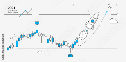 Stock market and economy growth illustration in linear graphic style. Basic graphics with rocket, candle chart and technical analysis symbols.