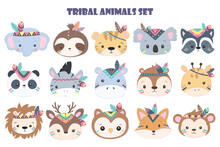 Cute Animals Head Cliparts, Animal Clipart, Baby Shower Decoration, Woodland Illustration.