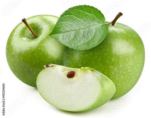 Fototapeta Isolated apple with leaves