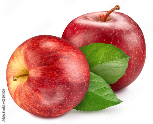 Obraz na plátně Red Apple with leaves clipping path