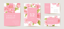 Wedding Cherry Invitation Card, Vintage Sakura Botanical Save The Date Set. Design Template Of Flowers And Leaves