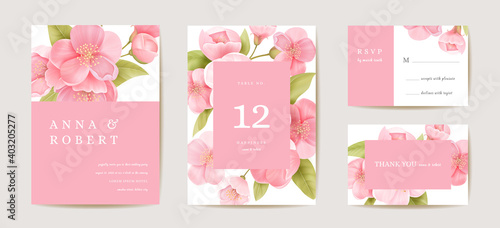 Wedding cherry invitation card, vintage sakura botanical Save the Date set Wallpaper Mural