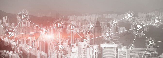 Wifi city communication technology fast internet connection 5g wireless concept. modern city view with icons.