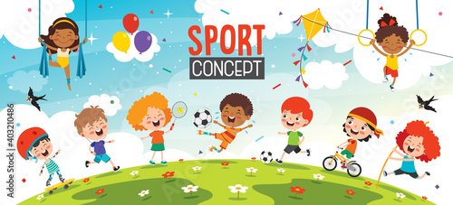 Fototapeta Sport Concept Design With Funny Children obraz