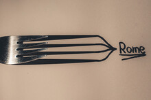 All Roads Lead To Rome - Fork Art - Fork And Shadow Play