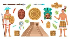 Maya Civilization Culture. Incas And Aztec Ancient Art, Ethnic Artifacts, Indian People, Historical Heritage And Landmarks, Religion Masks And Piramid Vector Cartoon Isolated Set