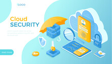 Cloud Security, Data Protecting. Safe Hosting Service, Authorization, Identification. Secure Backup Exchange. Isometric Vector Illustration For Website.