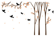 Wall Decals, Birds On Tree Design, Couple Of Birds Silhouette. Nature Art Design, Wall Decor Isolated On White Background