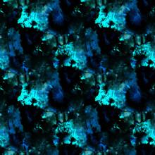 Tie And Dye Seamless. Ethnic Texture. Flowers Psychedelic Prints. Neon Boho Design. Graphic Pattern Print. Black Tie Dye Batik. Watercolor Bohemian Tile. Bleach Dye.