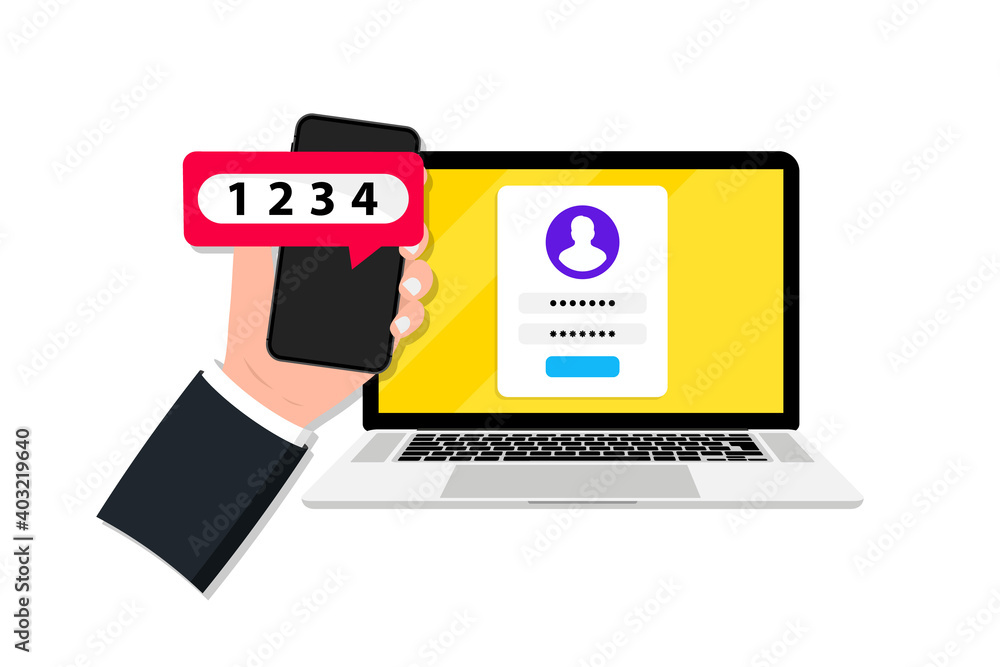 Fototapeta Two factor or multi factor authentication in smartphone and laptop. Duo verification. Verify permission request. 2FA password secure notice login verification with push code sms. Two step identity