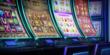 Row Of Video Slot Machines With Curved Display And Neon Lights At The Casino. 3D Rendered Illustration