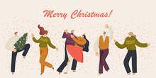 Christmas And People Celebrates. Merry Christmas And Happy New Year Site With Human Characters. People Are Celebrating A New Year's Party. Vector Illustraton