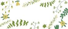 Sfondo Bianco Con Foglie E Piante Verdi Disegnati