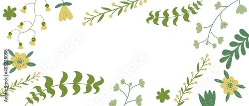 Fototapeta Sfondo bianco con foglie e piante verdi disegnati obraz