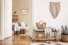 Scandinavian Interior Of Open Space With Wooden Bench, Grey Sofa, Pillows, Palid, Picture Frame, Macrame, Plant, Books, Carpet, Shelf, Decoration And Elegant Personal Accessoreis In Home Decor.