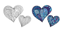 Zentangle Color Mandala Heart Vector Dedicated To Valentines Day. Adult Coloring Book Page