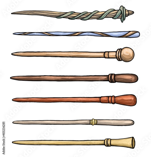 Big set of different wooden magic wands Wallpaper Mural