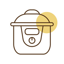 Slow Cooking Crock Pot Vector Icon