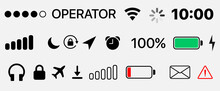 Mobile Icons - GUI Design Set - Status Bar Icons - Battery Life Icons. Status Bar Icon Set