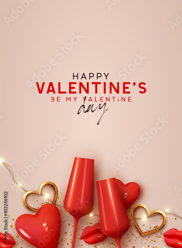 Happy Valentines day. Background with realistic 3d decor object. Two red Glass of wine, volumetric red heart and gold metal shape. Romantic banner, surprise poster, flyer and brochure. Holiday wedding