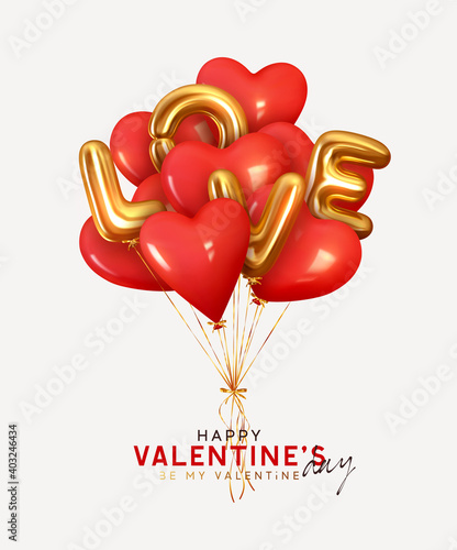 Obraz Valentine's day background with 3d red balloons in shape heart with gold metallic text lettering Love. Ballons and ribbon fly. Romantic banner, surprise poster, flyer and brochure. Holiday wedding - fototapety do salonu