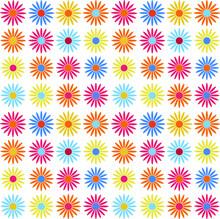 Vector Colorful Multicolor Seamless Pattern. Gerbera Flower. Chamomila Flower Endless  White Background. Camomila,  Yellow, Red, Blue, Orange Gerberas Daisy Flowers. Chrysanthemum Seamless Pattern.