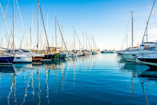 Saint-Laurent-du-Var, France 13.12.2020 Yacht Club In The Daytime. Mediterranean Coast