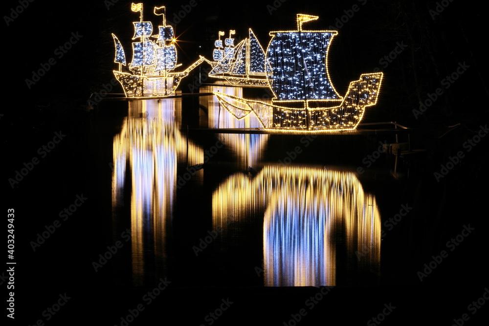 Fototapeta Oliwa Park - ozdoby świąteczne - obraz na płótnie
